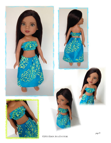 "Hawaiian Pa'u Hula Outfit for 13-14.5"" Dolls"