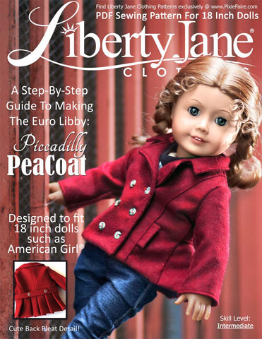 "Liberty Jane 18 Inch Modern Piccadilly Peacoat 18"" Doll Clothes Pattern Pixie Faire"