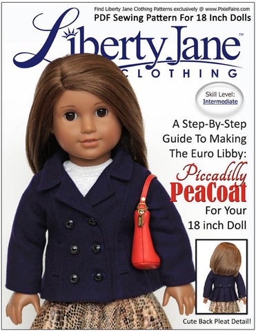 "Piccadilly Peacoat 18"" Doll Clothes Pattern"