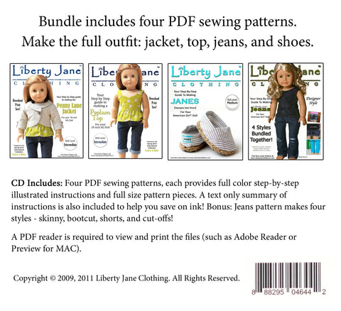 CD Doll Clothes Pattern Bundle - Penny Lane Outfit Collection