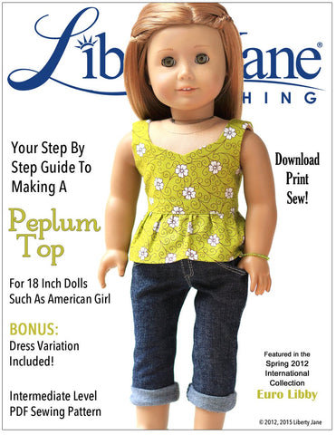 "Peplum Top 18"" Doll Clothes Pattern"