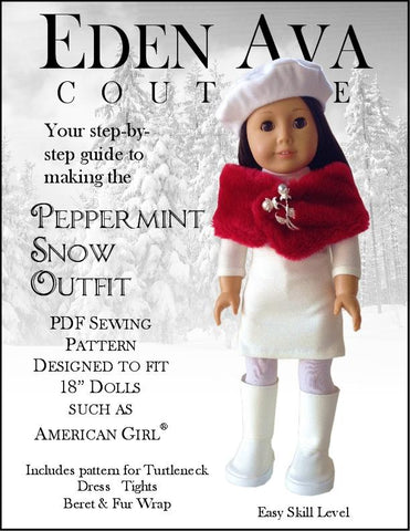"Eden Ava 18 Inch Modern Peppermint Snow Outfit 18"" Doll Clothes Pattern Pixie Faire"