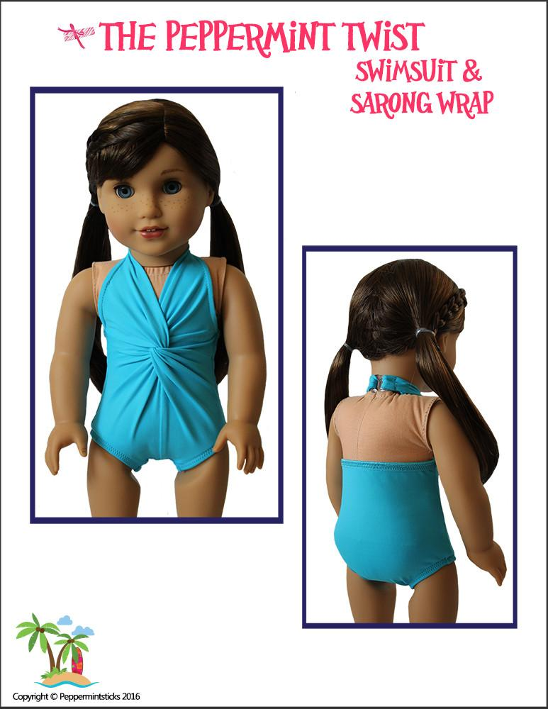 94eb6227fe Peppermintsticks The Peppermint Twist Swimsuit & Sarong Wrap Doll ...