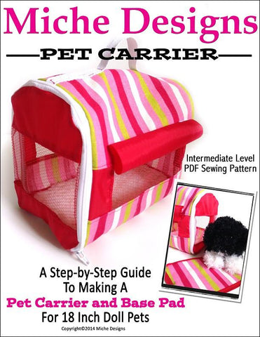 "Miche Designs 18 Inch Modern Pet Carrier 18"" Doll Accessory Pattern Pixie Faire"