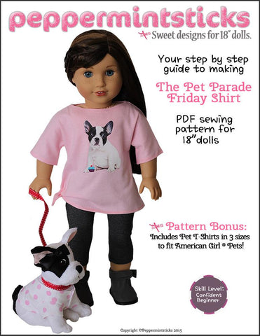 "Peppermintsticks 18 Inch Modern The Pet Parade Friday Shirt 18"" Doll Clothes Pattern Pixie Faire"
