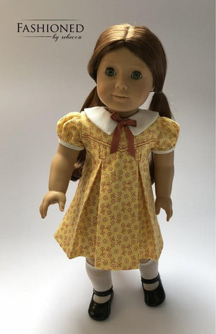 pdf doll clothes sewing pattern Fashioned By Rebecca Petals-n-Pleats dress designed to fit 18 inch American Girl dolls