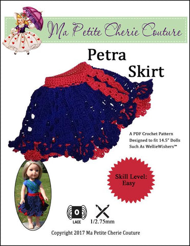 "Petra Skirt 14.5"" Doll Clothes Crochet Pattern"