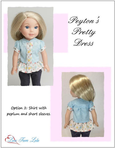 14.5 inch doll clothes pdf sewing pattern shirt dress for WellieWishers