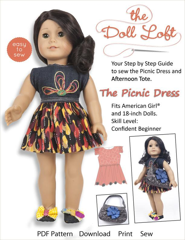 """18/"""" Doll Clothes Dress  Happy Birthday Dress and Tote Bag  American Made"""