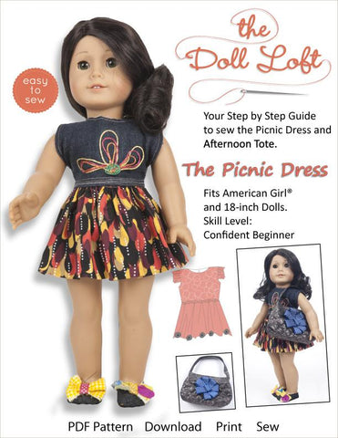 "The Doll Loft 18 Inch Modern PIcnic Dress and Afternoon Tote 18"" Doll Clothes Pattern Pixie Faire"