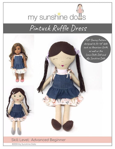 "My Sunshine Dolls 18 Inch Modern Pintuck Ruffle Dress Pattern for 18"" dolls and 23"" My Sunshine Cloth Dolls Pixie Faire"