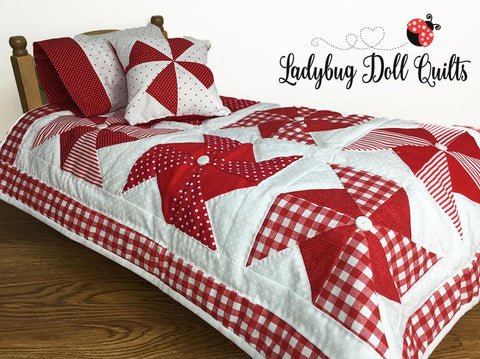 PDF Doll Quilt Pattern Ladybug Doll Quilts Pinwheel Party bedding pillow set quilt for 18 inch American Girl Dolls