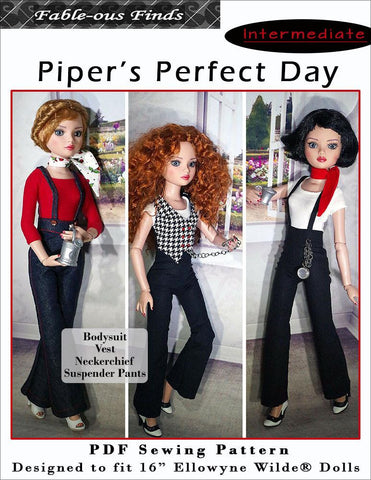 Piper's Perfect Day Bodysuit, Vest, Scarf, and Suspender Pants Pattern for Ellowyne Dolls
