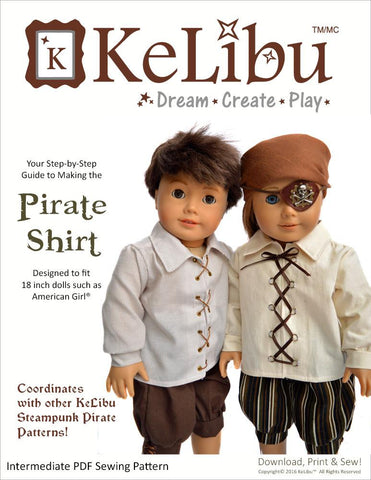 "Steampunk Pirate Shirt 18"" Doll Clothes"