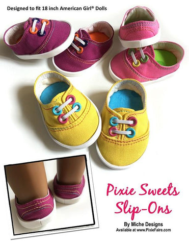 "Miche Designs Shoes Pixie Sweets Slip-Ons 18"" Doll Shoes Pixie Faire"