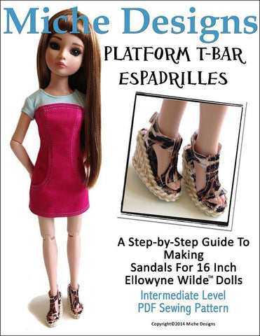 Platform T-Bar Espadrilles Pattern For Ellowyne Dolls