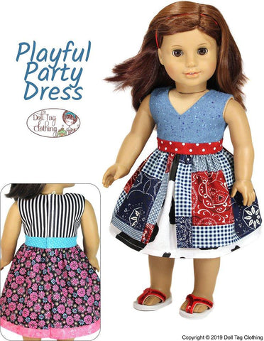 "Playful Party Dress 18"" Doll Clothes Pattern"