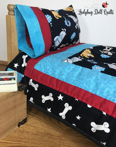 Ladybug Doll quilts Playful Prints Quilt Designed to Fit Beds of 18 inch dolls such as American Girl®
