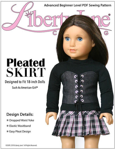 Liberty Jane Pleated Skirt 18 Inch Doll Clothes Pattern