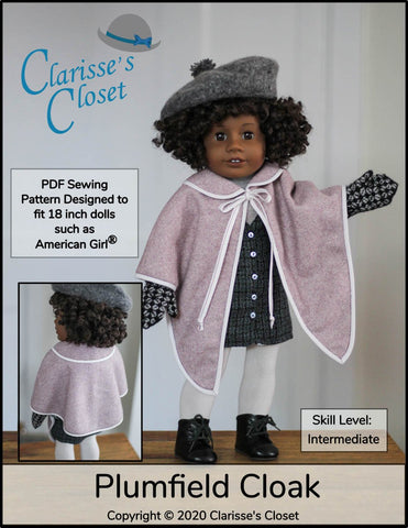 "Plumfield Cloak 18"" Doll Clothes Pattern"