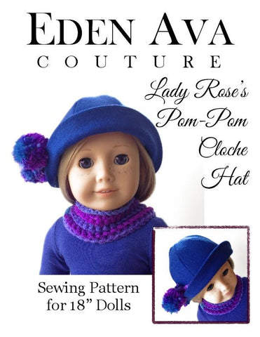 "Lady Rose's Pom Pom Cloche Hat 18"" Doll Accessories"