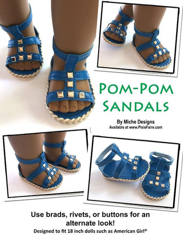 pdf doll clothes sewing pattern Miche Designs pom-pom gladiator sandals designed to fit 18 inch American girl dolls