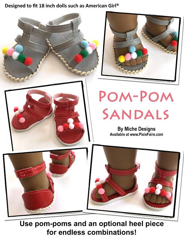 85de0ed6cd46 ... pdf doll clothes sewing pattern Miche Designs pom-pom gladiator sandals  designed to fit 18