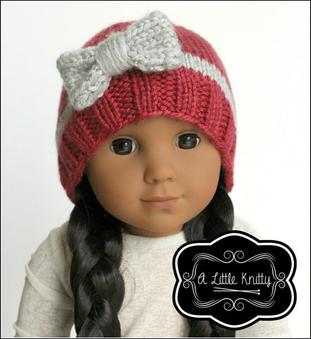 A Little Knitty Knitting Portia Bow Hat Knitting Pattern for Girls and 18 inch Dolls Pixie Faire