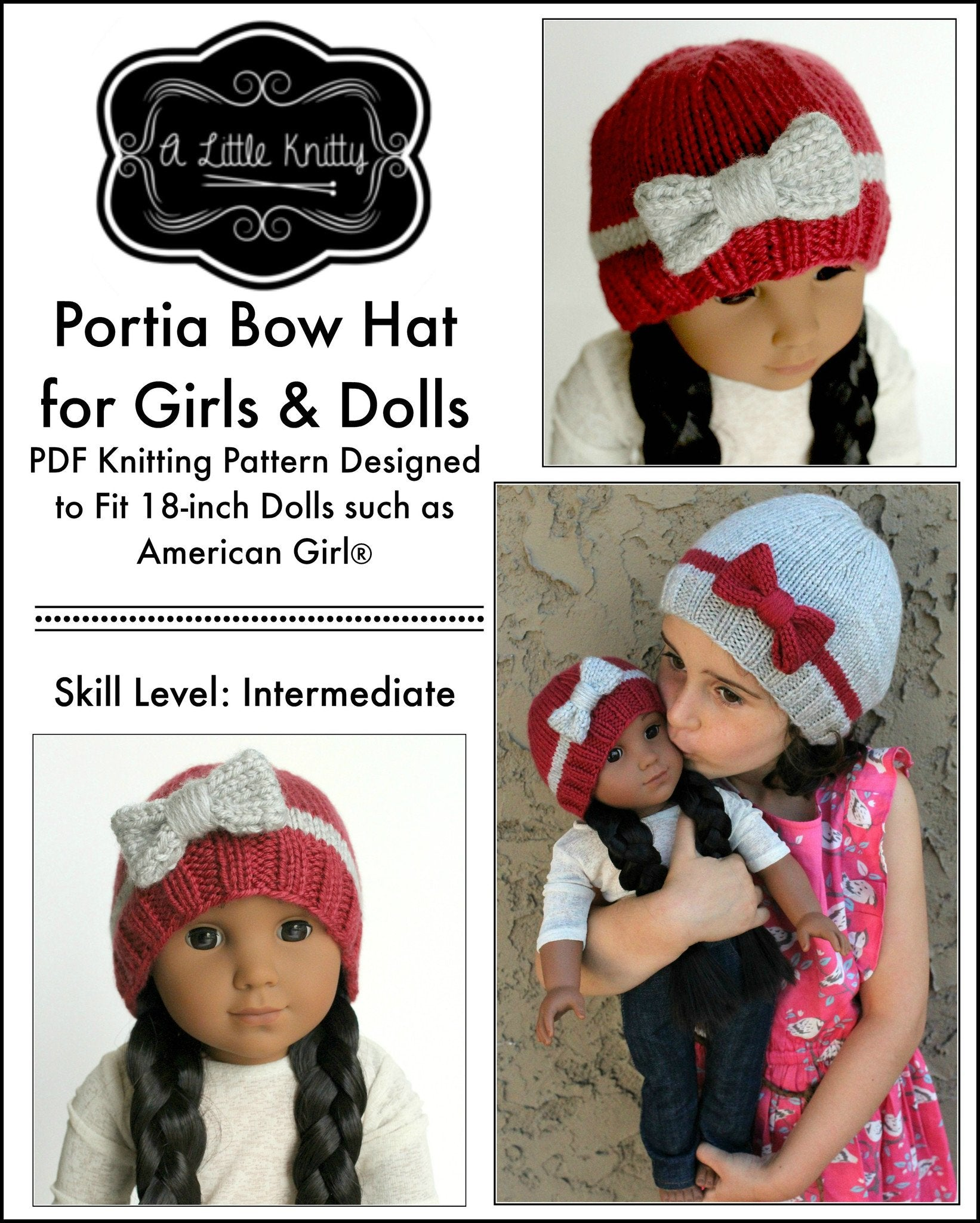 A Little Knitty Portia Bow Hat Doll Clothes Knitting Pattern 18 inch ...