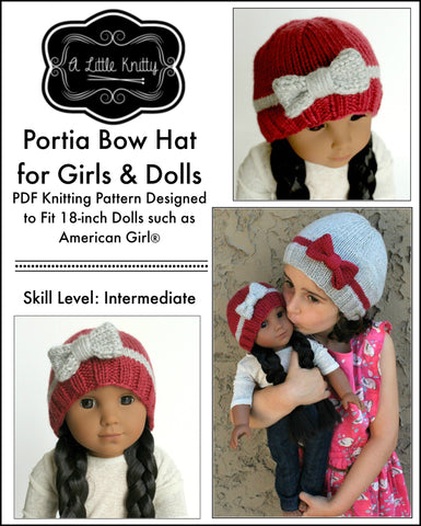 Portia Bow Hat Knitting Pattern for Girls and 18 inch Dolls