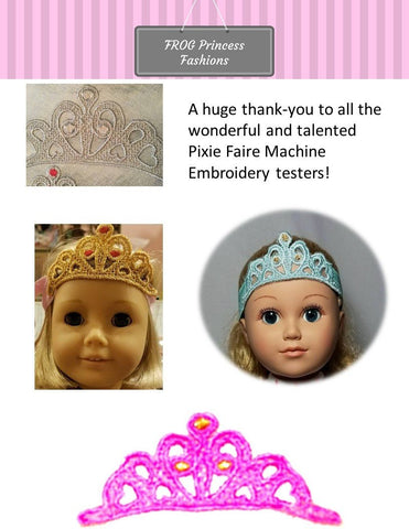 Posh Princess Lace Crown for Girls and Dolls Machine Embroidery Design