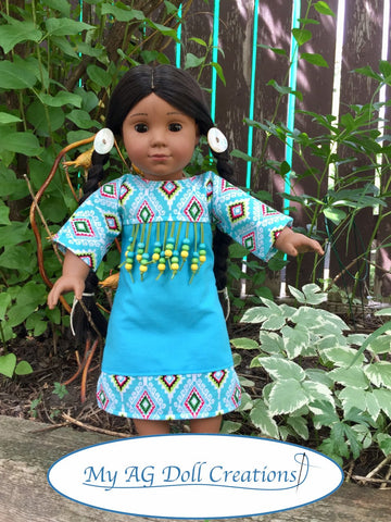 PDF doll clothes sewing pattern Native American Indian Powwow Dress designed to fit 18 inch American Girl Dolls
