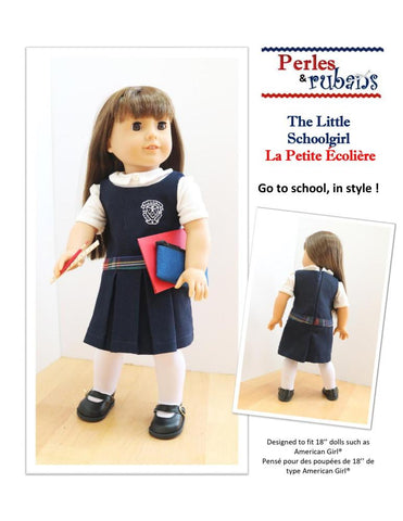 "Perles & Rubans 18 Inch Modern The Little Schoolgirl 18"" Doll Clothes Pattern Pixie Faire"