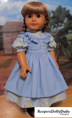 "Prairie Ruffles Dress 18"" Doll Clothes Pattern"