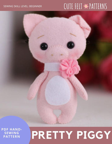 "Pretty Piggy 6"" Felt Plush Hand Sewing Pattern"