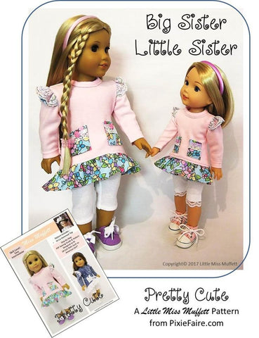 "Little Miss Muffett WellieWishers Pretty Cute 14-14.5"" Doll Clothes Pattern Pixie Faire"