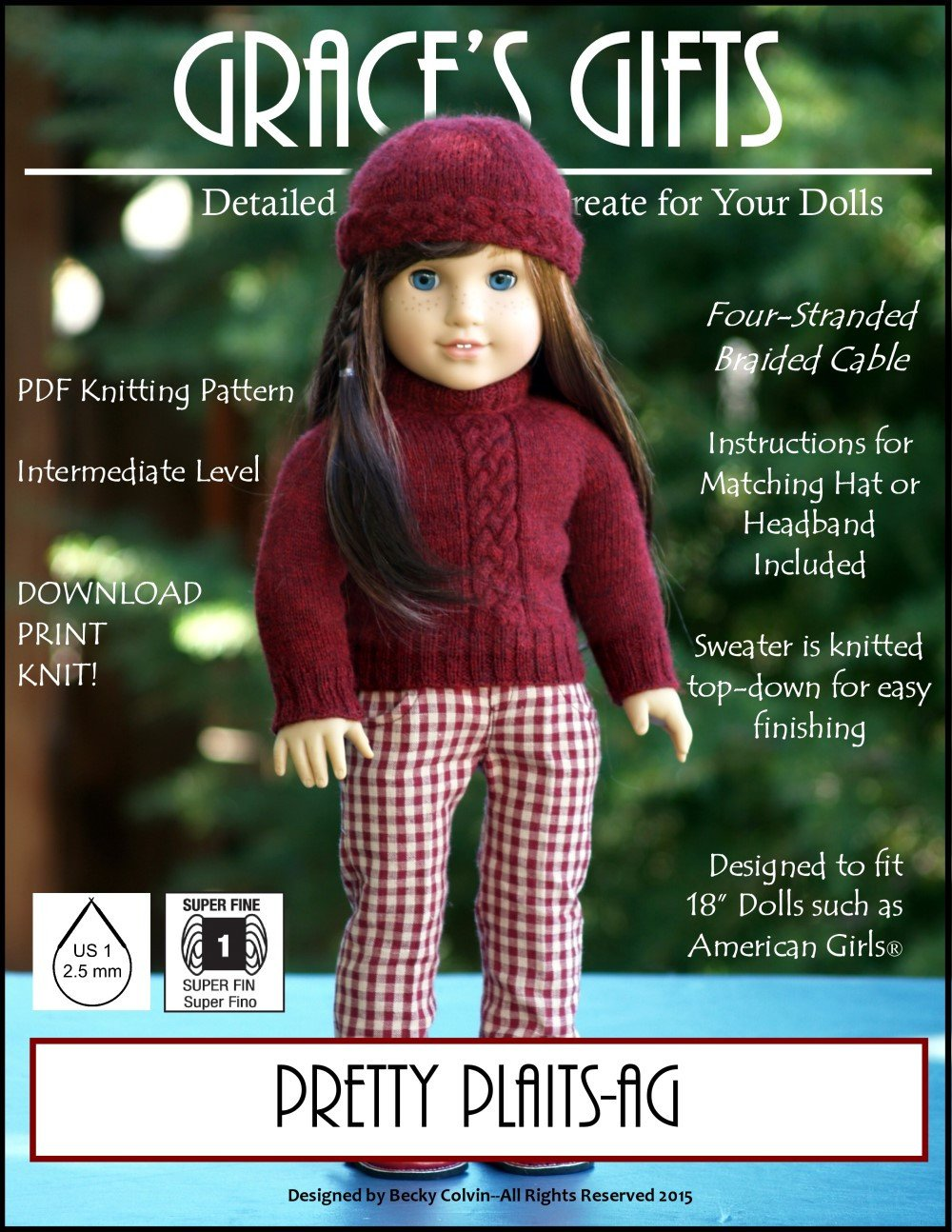 Grace\'s Gifts Pretty Plaits Doll Clothes Pattern 18 inch American ...