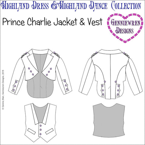 pdf doll clothes sewing pattern genniewren designs prince charlie jacket and vest scottish outfit designed to fit 18 inch American Girl dolls