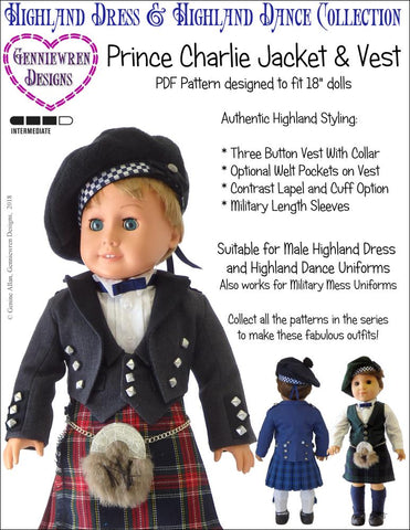 "Genniewren 18 Inch Modern Prince Charlie Jacket and Vest 18"" Doll Clothes Pattern Pixie Faire"