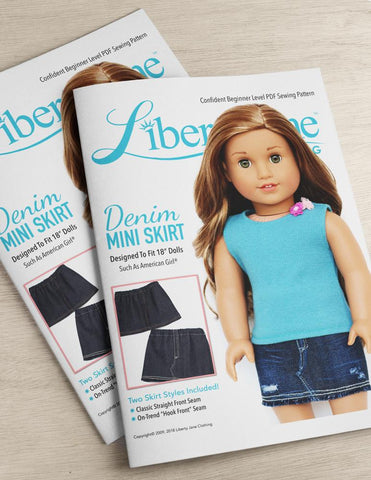 Printed Booklet Liberty Jane Denim Mini Skirt 18 Inch Doll Clothes Pattern
