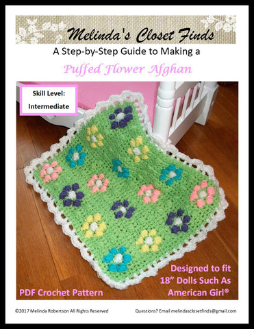 "Puffed Flower Afghan 18"" Doll Crochet Pattern"