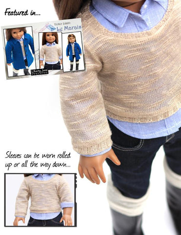 "Pullover Sweater 18"" Doll Clothes Pattern"