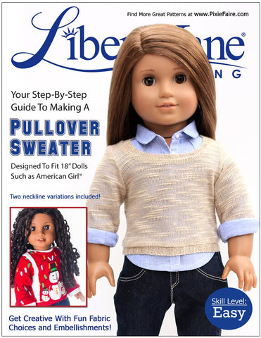 "Liberty Jane 18 Inch Modern Pullover Sweater 18"" Doll Clothes Pattern Pixie Faire"