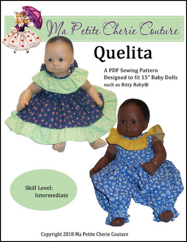 PDF doll clothes sewing pattern Ma Petite Cherie Couture Quelita dress romper bloomers designed to fit 15 inch Bitty Baby Dolls
