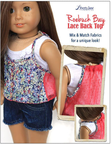"Roebuck Bay Lace Back Top 18"" Doll Clothes Pattern"