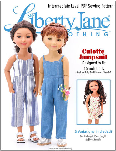 "Liberty Jane Ruby Red Fashion Friends Culotte Jumpsuit Doll Clothes Pattern for 15"" Ruby Red Fashion Friends® Pixie Faire"