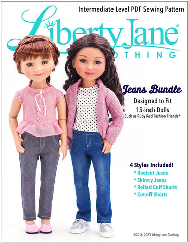 "Jeans Bundle Pattern For 15"" Ruby Red Fashion Friends Dolls"