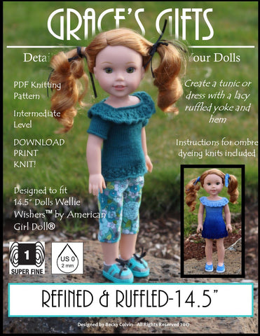 "Grace's Gifts WellieWishers Refined & Ruffled Knitting Pattern for 14.5"" Dolls Pixie Faire"