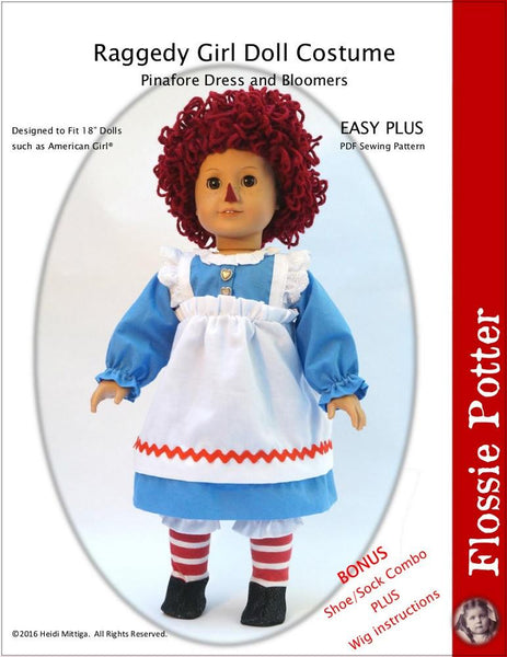Flossie Potter Raggedy Girl Doll Costume Doll Clothes