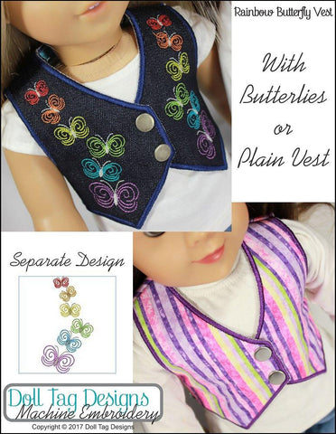 Doll Tag Clothing Machine Embroidery Design Rainbow Butterfly Vest  Machine Embroidery Designs Pixie Faire